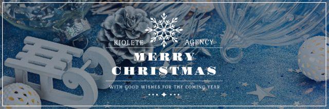 Ontwerpsjabloon van Email header van Christmas Greeting with Shiny Decorations in Blue