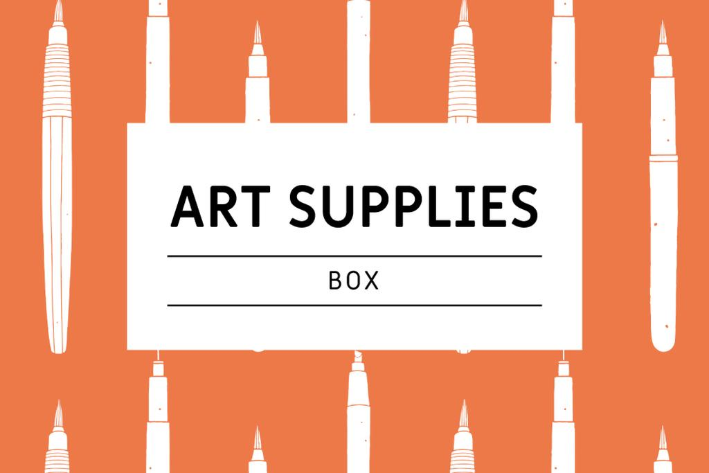 Art Supplies ad with pencils pattern Label – шаблон для дизайну
