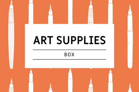 Plantilla de diseño de Art Supplies ad with pencils pattern Label