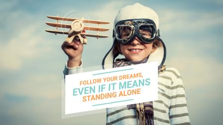 Modèle de visuel Dreams Quote Boy Playing with Toy Plane - Full HD video