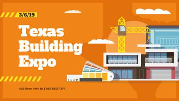 Building Expo Announcement Crane at Construction Site | Facebook Event Cover Template