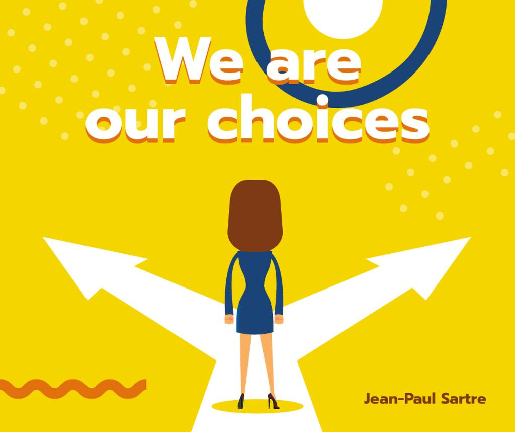 Businesswoman standing on Choices crossroads — Modelo de projeto