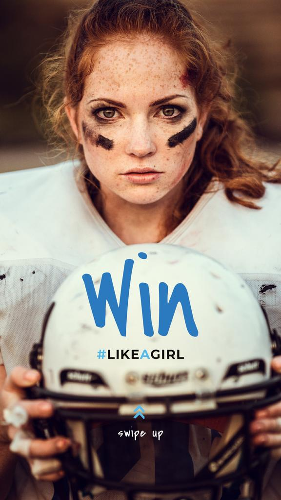 Girl playing american football — Maak een ontwerp