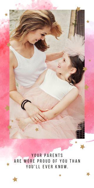 Ontwerpsjabloon van Graphic van Happy mother with her daughter