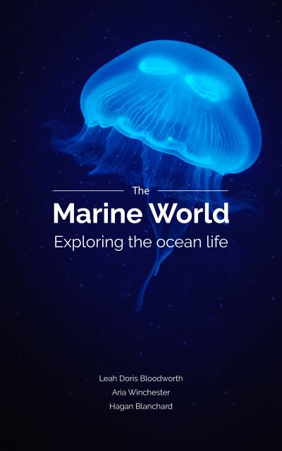 Jellyfish Swimming in Sea Book Cover Design Template