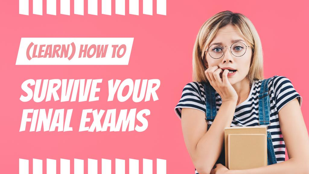 Exams Tips Nervous Girl with Books — Créer un visuel