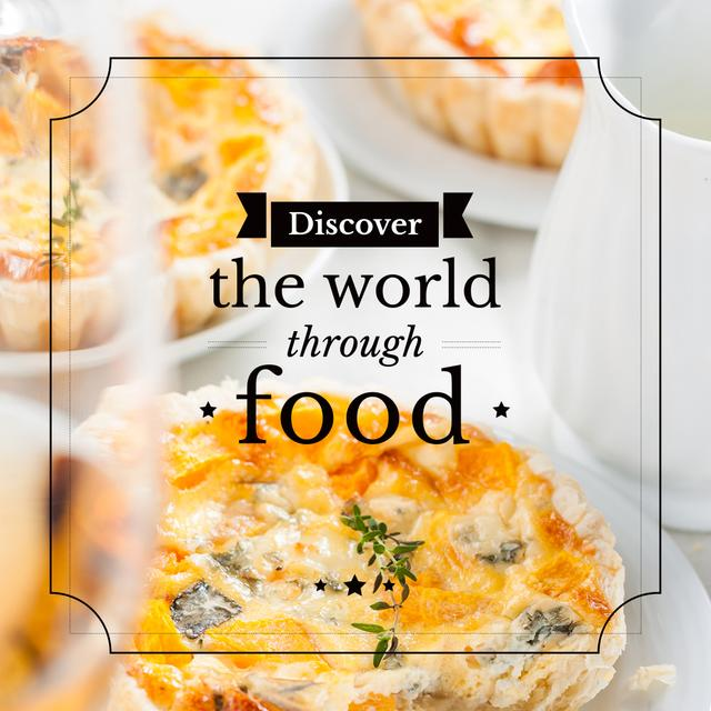 Ontwerpsjabloon van Instagram AD van Food Inspiration Quote with tasty pie