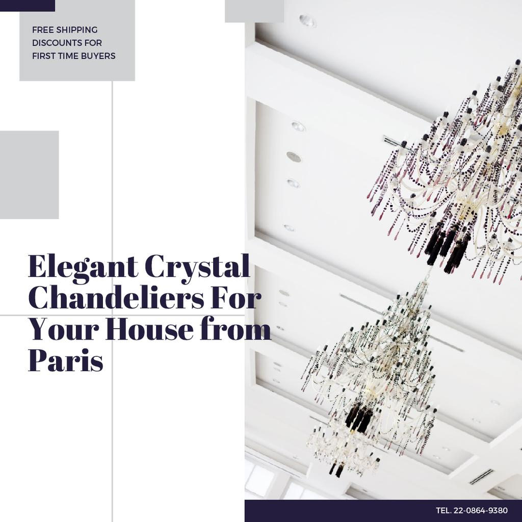 Elegant Crystal Chandeliers Sale Instagram Design Template