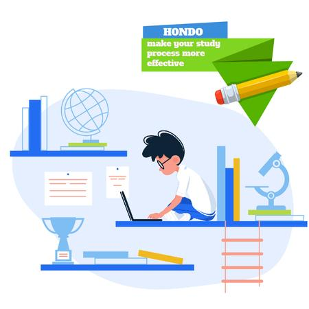 Boy studying with laptop Animated Postデザインテンプレート