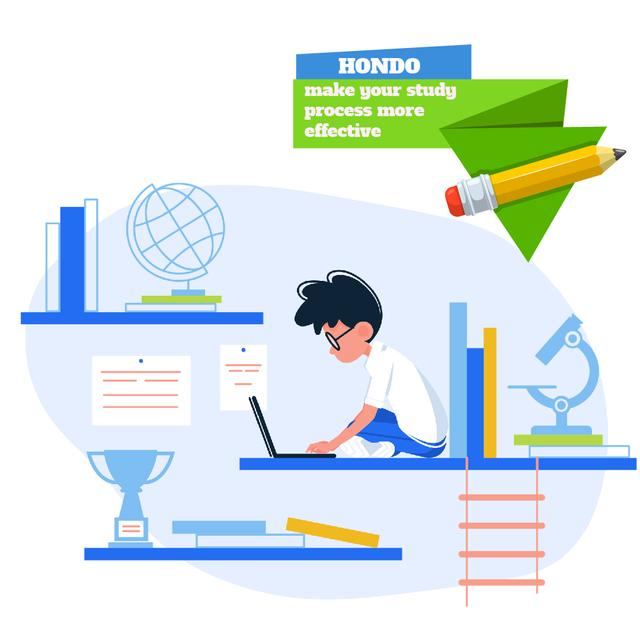 Boy studying with laptop Animated Post Design Template