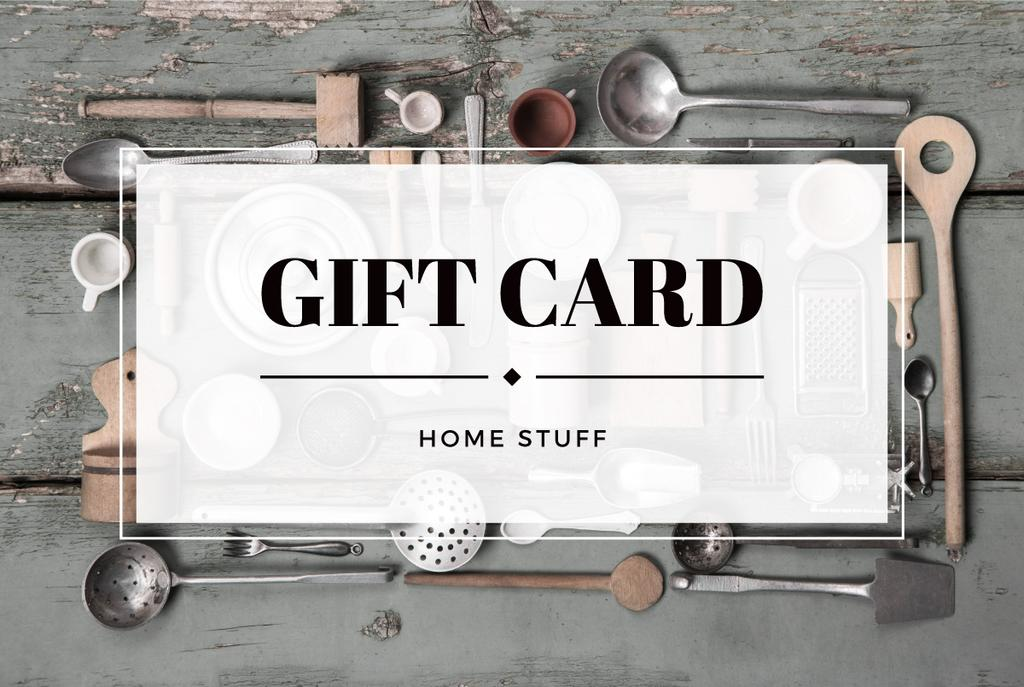 Gift card for store of homestuff — Create a Design