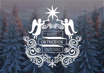 Happy Orthodox Christmas Angels over Snowy Trees | Postcard Template