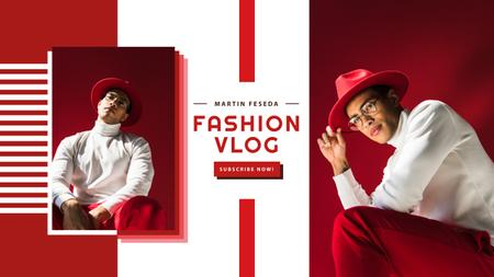 Ontwerpsjabloon van Youtube van Fashion Trends with Stylish Man in Red