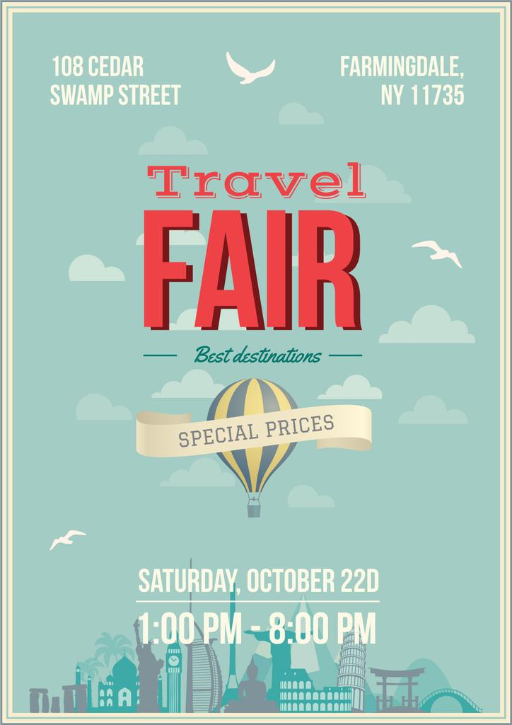 Travel Fair Advertisement with Hot Air Balloon — ein Design erstellen