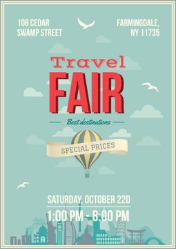 Travel Fair Advertisement Hot Air Balloon | Poster Template
