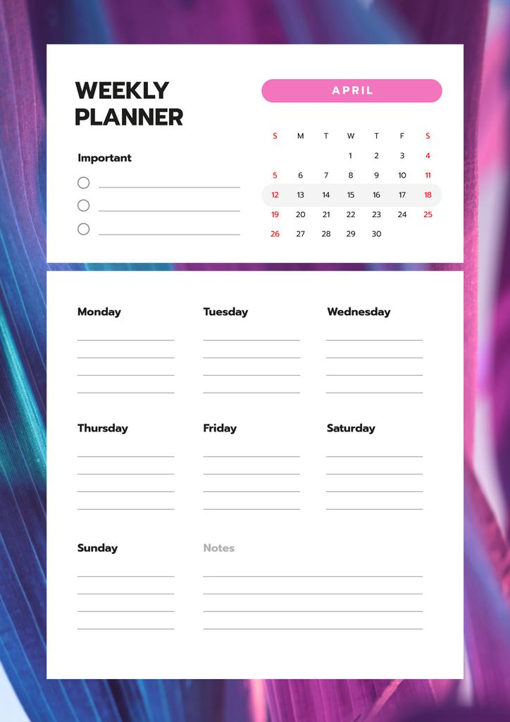 Weekly Planner on Purple Gradient Texture — Create a Design