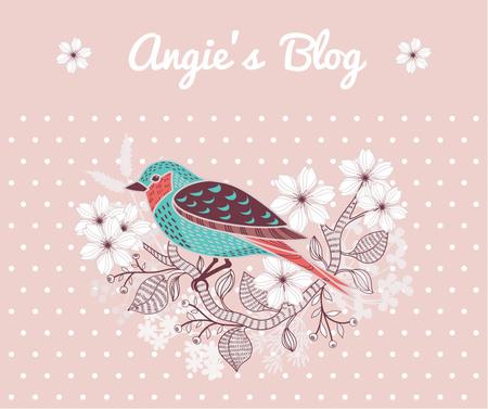 Modèle de visuel Blog Illustration Cute Bird on Pink - Facebook