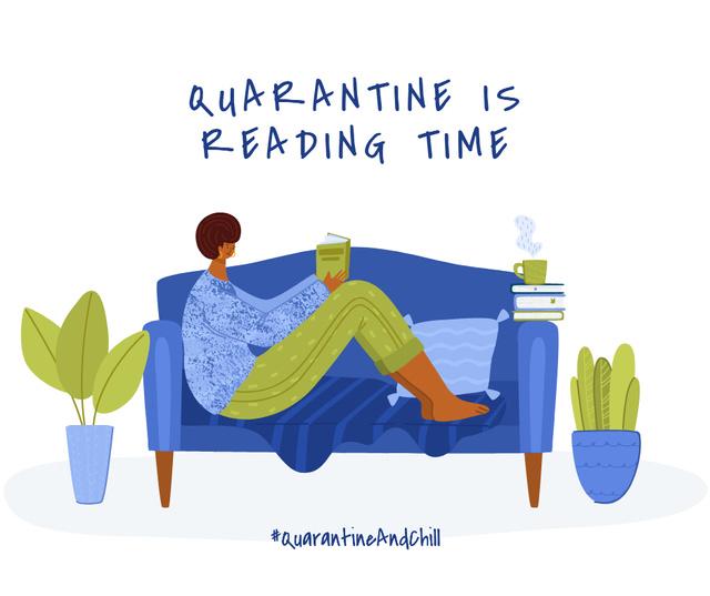 #QuarantineAndChill Woman reading Books in cosiness armosphere Facebook – шаблон для дизайна