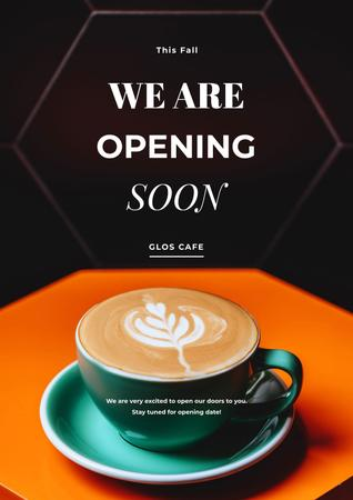 Designvorlage Cafe opening announcement with Coffee für Poster