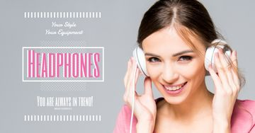 Headphones sale advertisement with smiling GIrl