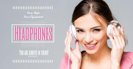 Plantilla de diseño de Headphones sale advertisement with smiling GIrl Facebook AD