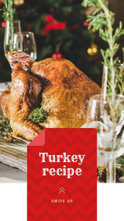 Plantilla de diseño de Festive Dinner whole Roasted Turkey Instagram Story
