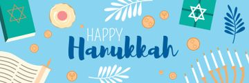 Happy Hanukkah Greeting Symbols in Blue