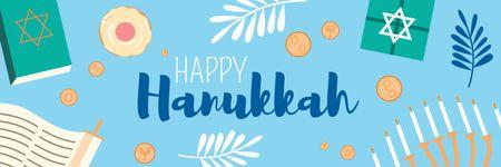 Designvorlage Happy Hanukkah Greeting Symbols in Blue für Twitter