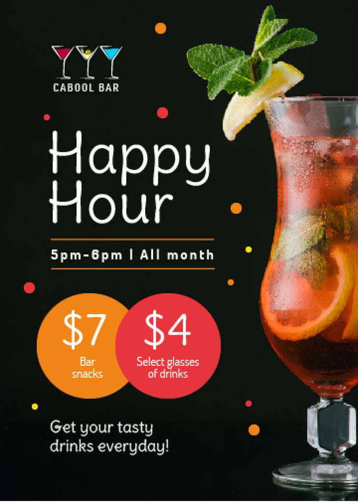 Bar Happy Hours Cold Cocktail in Glass | Flyer Template — Создать дизайн