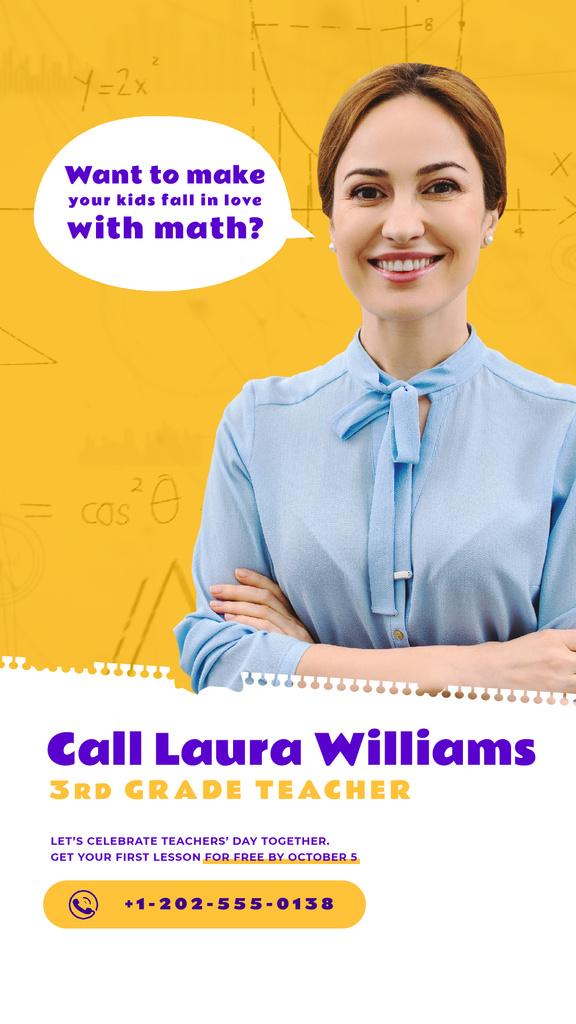 Teacher Quote Smiling Woman in Blouse — ein Design erstellen