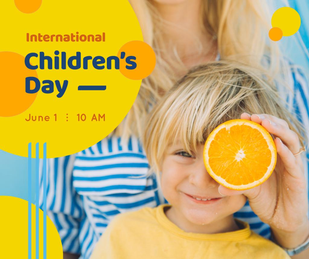 Smiling kid holding orange — Crear un diseño