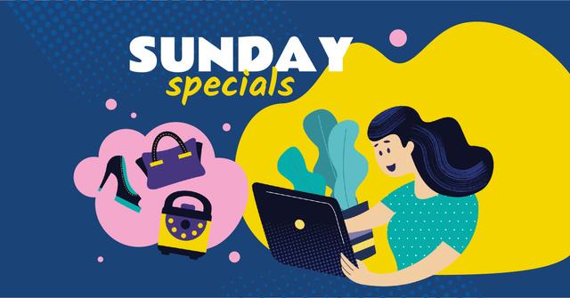 Modèle de visuel Girl with laptop Shopping online - Facebook AD