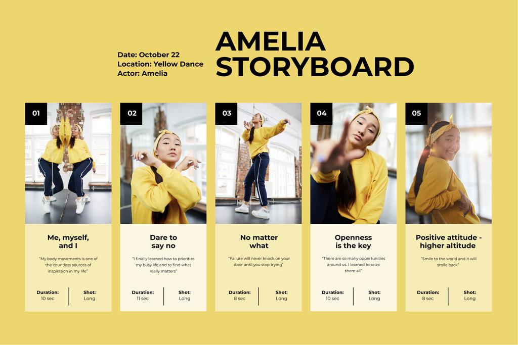 Girl Dancing in studio Storyboard Design Template