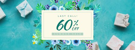 Modèle de visuel Summer sale Frame with blooming flowers - Facebook Video cover