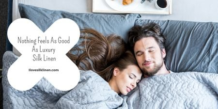 Plantilla de diseño de Bed Linen ad with Couple sleeping in bed Image