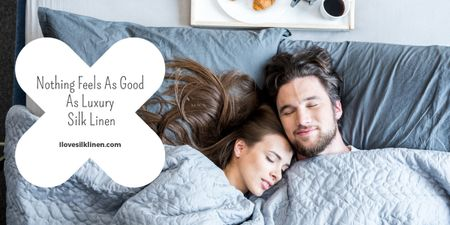 Bed Linen ad with Couple sleeping in bed Imageデザインテンプレート