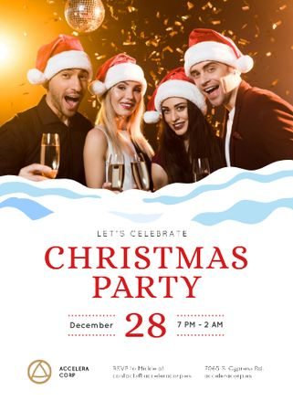 Plantilla de diseño de Christmas Party Invitation People Toasting with Champagne Invitation
