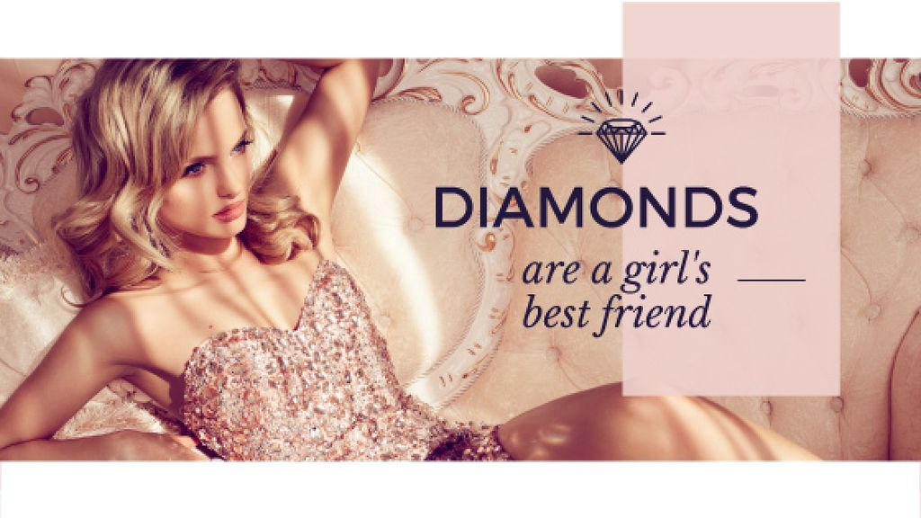 young woman with text diamonds are girl's best friend — Create a Design
