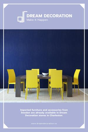Design Studio Ad with Kitchen Table in Yellow and Blue Pinterest Tasarım Şablonu