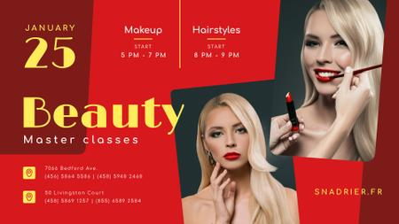Modèle de visuel Beauty Courses Beautician applying Makeup - FB event cover