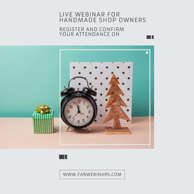 Inspirational Quote about Interests with alarm clock Instagram AD Modelo de Design