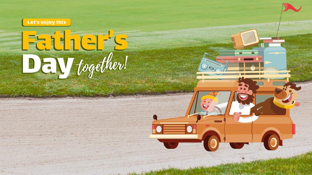 Father's Day Happy Family in Car — ein Design erstellen