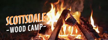 Burning camp fire Facebook Video cover – шаблон для дизайна