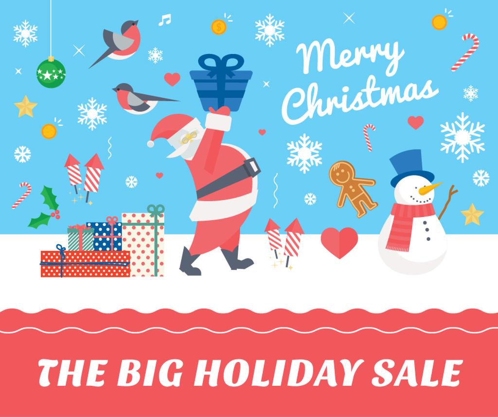 Christmas Holiday greeting Santa delivering Gifts — ein Design erstellen