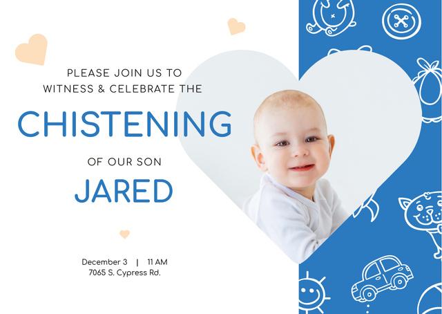 Baby Christening Invitation with Adorable Little Boy Postcard Modelo de Design