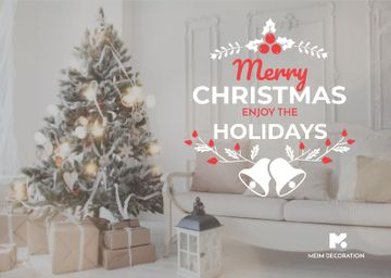 Merry Christmas Greeting with Decorated Tree in Room
