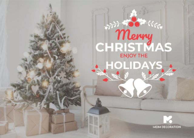 Modèle de visuel Merry Christmas Greeting with Decorated Tree in Room - Card