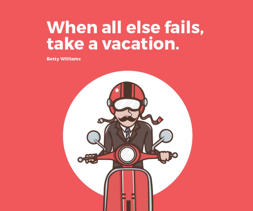 Vacation Quote Man on Motorbike in Red | Large Rectangle Template — Maak een ontwerp