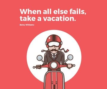 Vacation Quote Man on Motorbike in Red | Large Rectangle Template