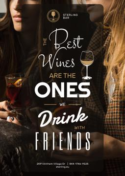 Bar Promotion Friends Drinking Wine | Poster Template